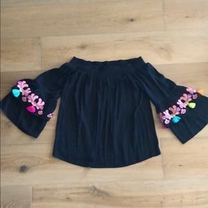 Lilly Pulitzer black silk top with tassels.